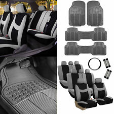 3 Row 8 Seater Gray Seat Covers for SUV Van Accesory Combo w/ Gray Floor Mats