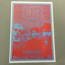 U2 - CONCERT POSTER - MARQUEE LONDON MONDAY 29TH SEPTEMBER 1980   (A3 SIZE)