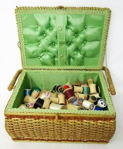 Lot of 113 Wood Spools in Vintage Woven Sewing Basket with Handle - Spool Box
