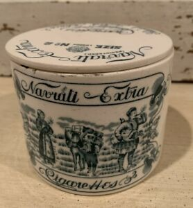 ANTIQUE VICTORIAN NAVRATI EXTRA ROUND CERAMIC CIGARETTE ADVERTISING BOX, LID