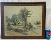 Vtg Antique 1897 Lithograph print Cabin Stream Country Village Farm Wood framed