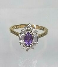 Genuine 9ct Gold Cluster Ring Stunning Amethyst and Diamond Simulants  UNUSUAL
