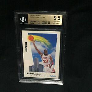 "MICHAEL JORDAN BULLS 1991 92 SKYBOX CARD #583 ""TRUE"" QUAD GEM MINT BGS 9.5"
