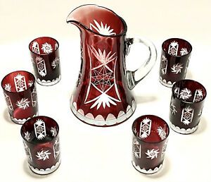 Magnificent Antique 1920's set of 7 Cranberry Pinwhell cut Glass pitcher & glass