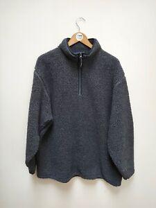 Vintage GANT Athletic Deep Pile Quarter Zip Fleece - Grey Fleck - Extra Large XL