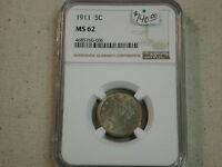 1911 5C Nickel MS62  NGC beautiful toned luster