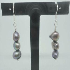 9-10mm black Baroque South Sea pearl earring accessories personality elegant diy