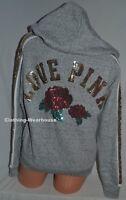 Victoria's Secret PINK Grey Bling Sequin Rose Lace Up Hoodie Sweatshirt XS,S, M
