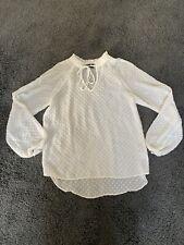 Ladies Pretty Chiffon Style White Blouse Tunic Top Primark Size 8