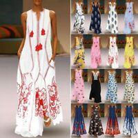 Women Long Maxi Dress Floral Print Split Hem Sleeveless Shirt Dress Size S-5XL