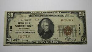 $20 1929 Norristown Pennsylvania PA National Currency Bank Note Bill Ch. #1148