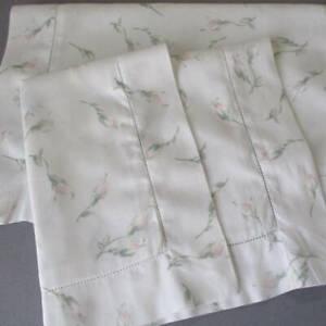 Pr Vintage SFERRA Bros Luxury Linen Boudoir Pillow Shams Pink ROSE Buds * ITALY
