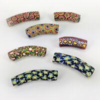 7 Antique Venetian Millefiori Green Glass African Trade Beads - Mixed Elbows