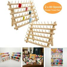 2X60 Spool Wooden Thread Rack/Thread Holder Organizer for Embroidery Quilt Sew