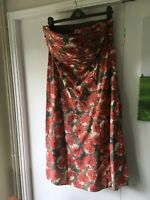 BNWT LAURA ASHLEY RED POPPY SILK Mix boned strap(less) Floral DRESS size 16