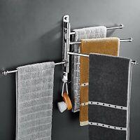Towel Holder 2/4 Swivel Bars Stainless Steel Bath Rack Rail Hanger Wall Mounted