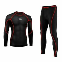 Mens Compression Armour Base layer Top Thermal Skin Fit Shirt + Leggings set UK