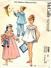 1950s Vtg McCalls Pattern Transfer Girls NIGHTGOWN PAJAMAS SHORTIE 2189 Sz 6 CUT