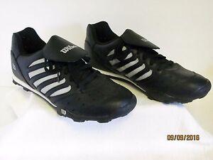 EUC Wilson Men's Baseball Soccer Rubber Cleats Black & Silver Shoes Indoor? 8