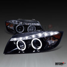 Glossy Black 2006-2008 E90 323I 4Dr Dual Halo R8 LED Projector Headlights Smoke