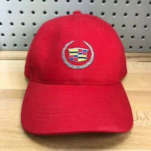 Cadillac Luxury Vehicles Logo Hat Red Cap with Hook & Loop Closure Escalade GM