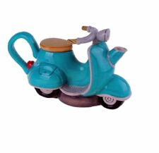 """BLUE SCOOTER Hand-Painted Ceramic Teapot, by Blue Sky Ceramics, 10"""" Long"""