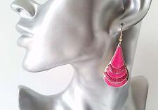 BELLISSIMA 5cm lunga tono oro & Rosa Shocking forma a goccia Glitter Luccicanti Orecchini