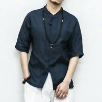 Comfort Mens Loose Botton Shirt Short Sleeve Ethnic Linen Cotton Shirt Tops New