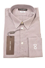 Dolce & GABANNA camisa manga larga para hombre Talla 40 Gris/Blanco Rrp £ 260 BCF82