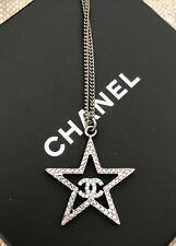 BNIB Authentic CHANEL Pink Crystal Star with CC Logo Metal Pendant