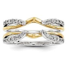 1.00CT Diamond Ring Guard Enhancer in 10k Two Tone Finish 925 Sterling Silver