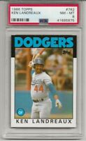 1986 TOPPS #782 KEN LANDREAUX, PSA 8 NM-MT, LOS ANGELES DODGERS, L@@K !