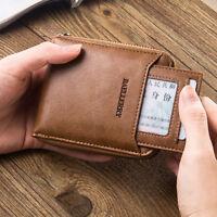 Men Leather Wallet Credit Card Holder Bifold Zip Cash Coin Billfold Purse Clutch