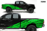 Custom Vinyl Decal Half Side Torn Wrap Kit for Toyota Tacoma 2005-12 Truck GREEN