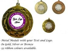 Personalised Medal your logo and text 50mm With Woven ribbon 32 colours