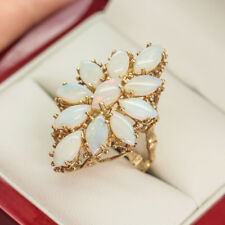 1960's Vintage Opal Dress Ring, 14k Gold, Marquise Opals with lots of fire