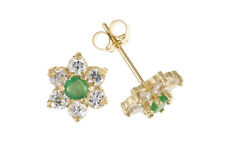 Emerald Cluster Stud Earrings Solid Gold Studs Natural Stones