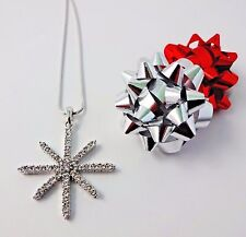 Snowflake necklace silver crystals starburst snake chain