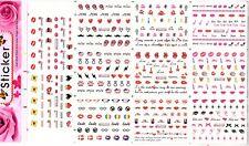 11 Sheets Set Lips Nail Art Water Decals Transfers Sticker Diamond Love