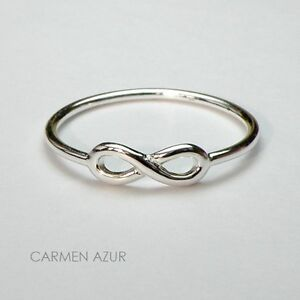 Solid 925 Silver Ring Slim Infinity Size K,L,L1/2,M,O1/2,P,P1/2,Q,R.S + Gift Bag