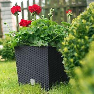 Black Rattan Square Plant Flower Pot Garden Home Holder Pots Planter Herb 32cm