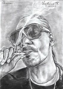 original drawing A3 31VX art samovar Charcoal modern portrait Snoop Dogg