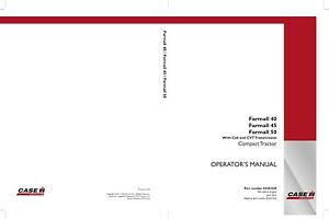 CASE FARMALL 50 CVT FARMALL 40 CVT FARMALL 45 CVT TRACTOR OPERATORS MANUAL