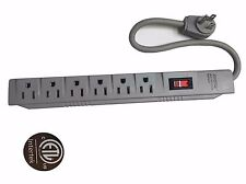 6 Outlet Power Electrical Wall Plug Socket Surge Protector Strip Switch 1.5ft