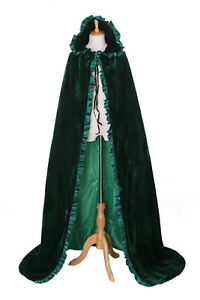 Cape-02 Grün Green Samt bodenlag Umhang Gewand Mittelalter Gothic Vampir Larp