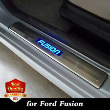 Stainless Door Sill Threshold Scuff Plates For Ford Fusion 2013-2017 Blue LED