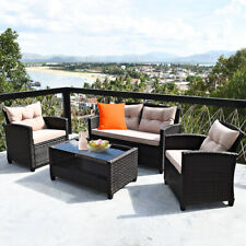 4PCS Outdoor Rattan Furniture Set Cushioned Sofa Armrest Table W/Lower Shelf