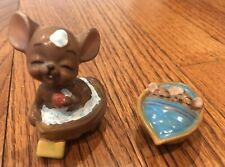 Vintage Josef Originals Japan Mice Figurines In Walnut Shells Lot Of 2