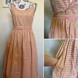 Vintage 1980s Stripped Dress Daniel Hechter Designer Sundress