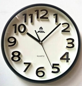 34cm Silent Round Wall Mountable Quartz Analogue Clock - Black Frame